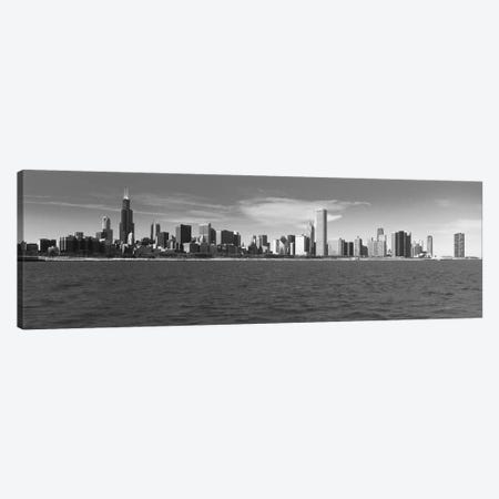 Chicago Panoramic Skyline Cityscape (Black & White) Canvas Print #6083} by Unknown Artist Art Print
