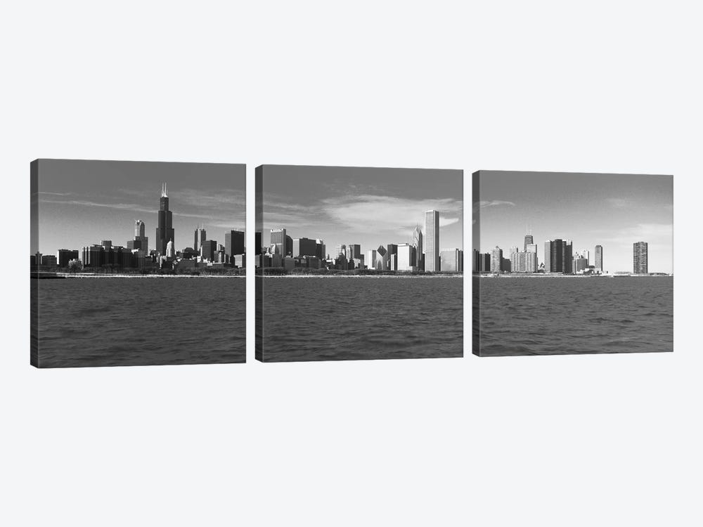 Chicago Panoramic Skyline Cityscape (Black & White) by Unknown Artist 3-piece Art Print