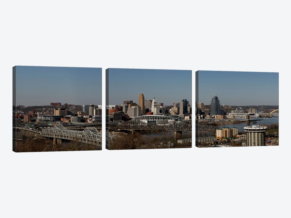 Cincinnati Panoramic Skyline Cityscape by Unknown Artist 3-piece Canvas Wall Art
