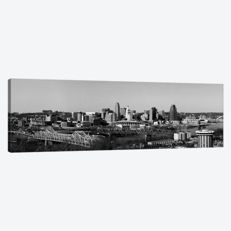 Cincinnati Panoramic Skyline Cityscape (Black & White) Canvas Print #6085} Canvas Art