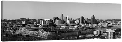 Cincinnati Panoramic Skyline Cityscape (Black & White) Canvas Print #6085