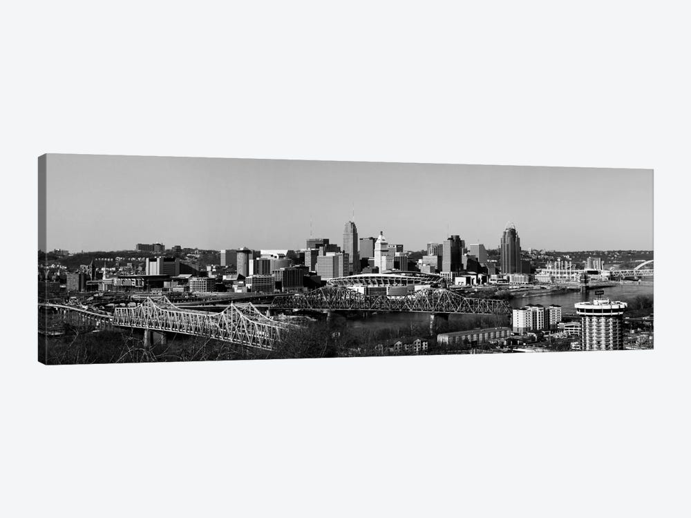 Cincinnati Panoramic Skyline Cityscape (Black & White) by Unknown Artist 1-piece Art Print