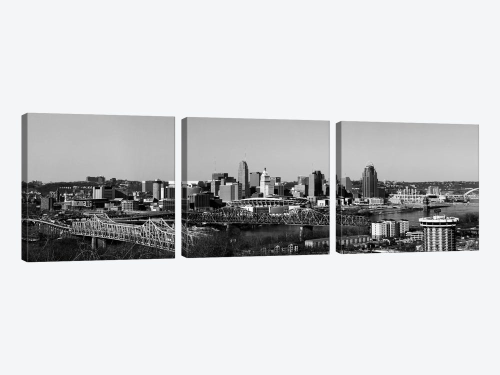 Cincinnati Panoramic Skyline Cityscape (Black & White) by Unknown Artist 3-piece Art Print
