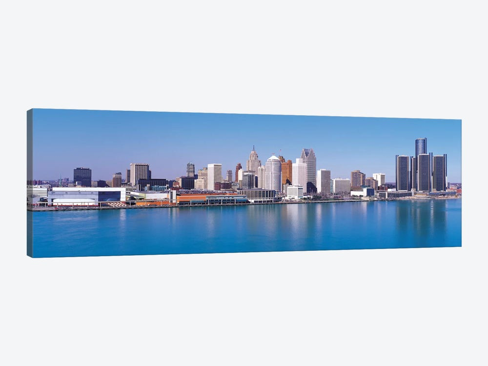 Detroit Panoramic Skyline Cityscape by Unknown Artist 1-piece Art Print