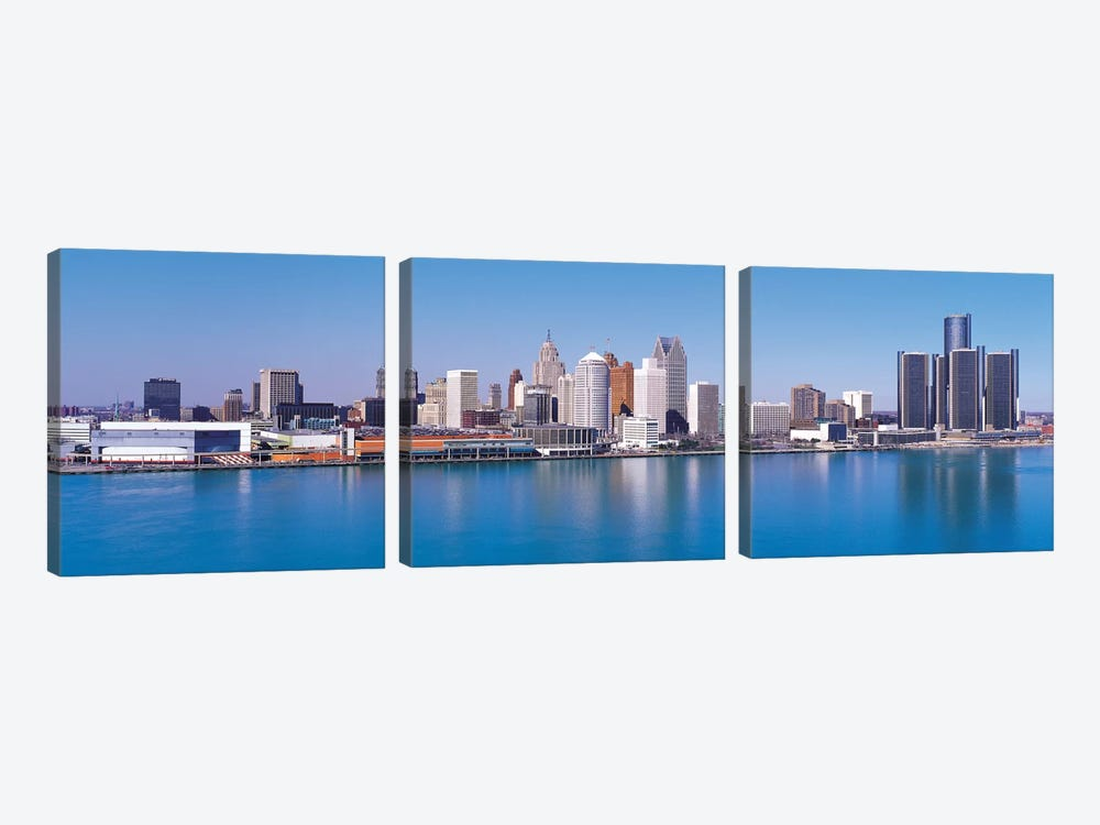 Detroit Panoramic Skyline Cityscape by Unknown Artist 3-piece Art Print