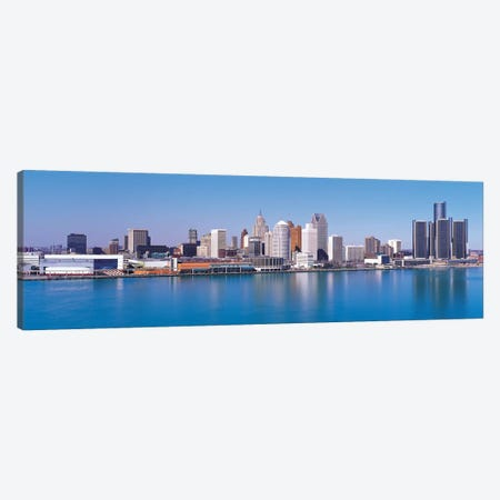 Detroit Panoramic Skyline Cityscape 3-Piece Canvas #6087} by Unknown Artist Canvas Art
