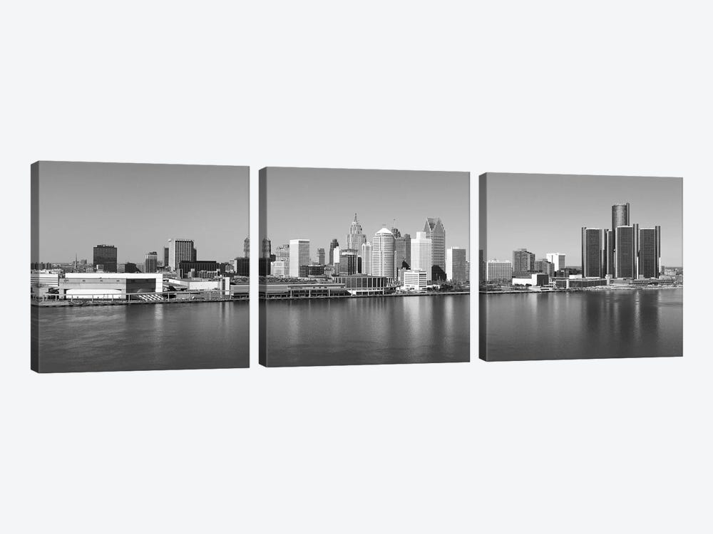 Detroit Panoramic Skyline Cityscape (Black & White) by Unknown Artist 3-piece Canvas Print
