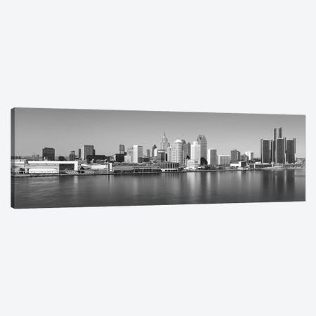 Detroit Panoramic Skyline Cityscape (Black & White) 3-Piece Canvas #6089} by Unknown Artist Art Print
