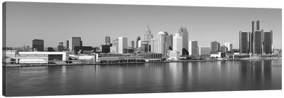 Detroit Panoramic Skyline Cityscape (Black & White) Canvas Art Print