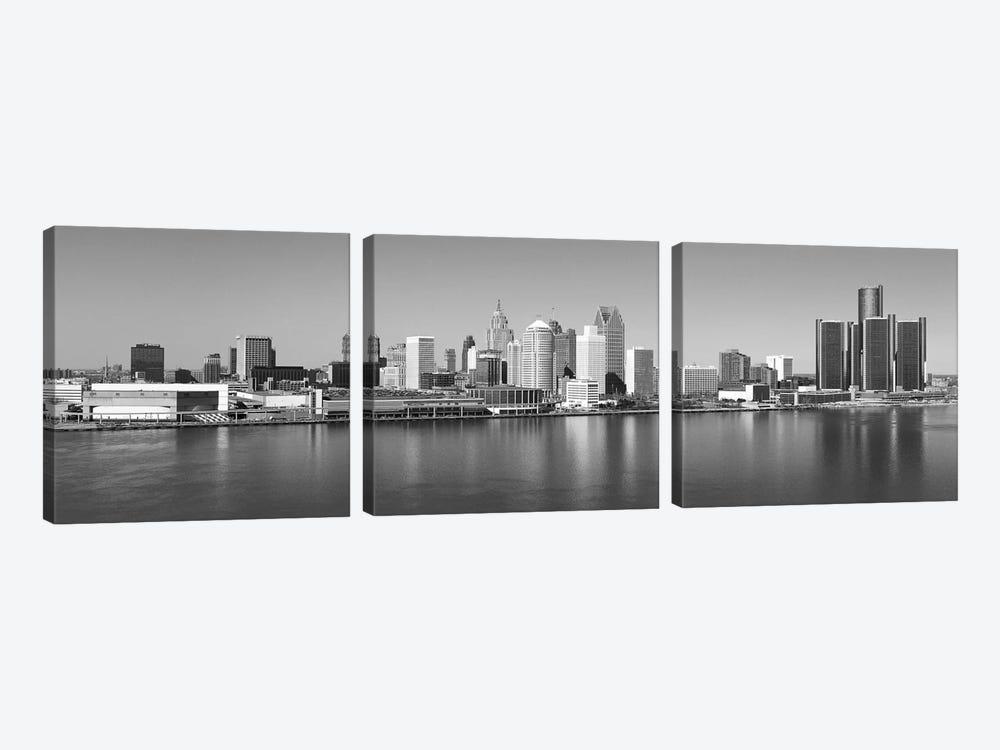Detroit Panoramic Skyline Cityscape (Black & White) by Unknown Artist 3-piece Canvas Print