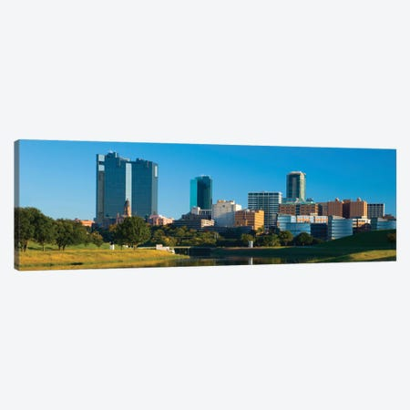 Fort Worth Panoramic Skyline Cityscape Canvas Print #6090} by Unknown Artist Canvas Wall Art