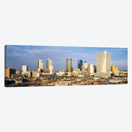 Fort Worth Panoramic Skyline Cityscape Canvas Print #6091} by Unknown Artist Canvas Artwork