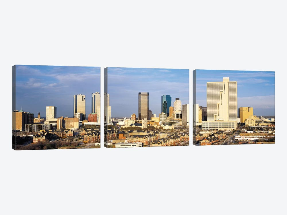 Fort Worth Panoramic Skyline Cityscape 3-piece Canvas Art