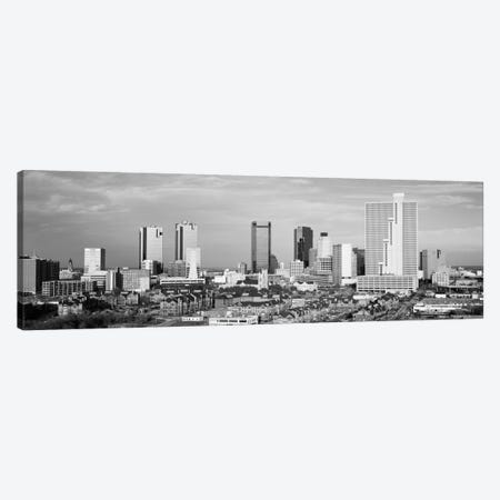 Fort Worth Panoramic Skyline Cityscape (Black & White) Canvas Print #6092} Canvas Art
