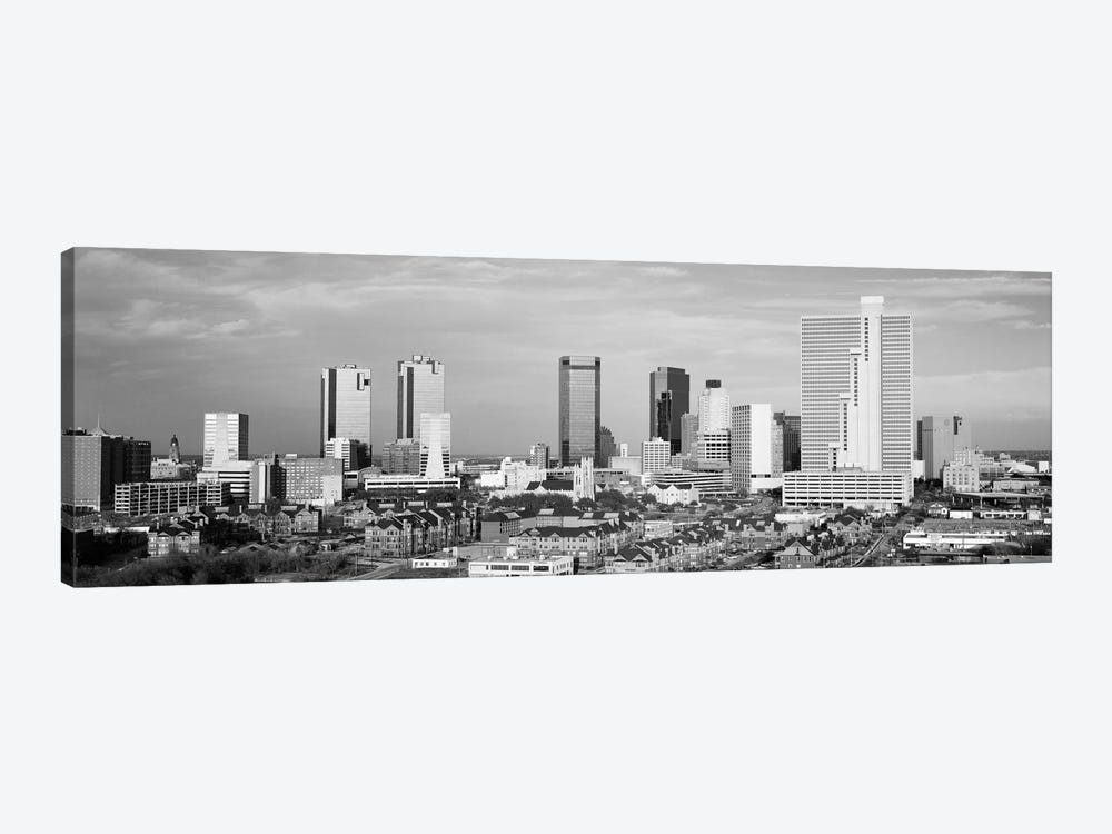 Fort Worth Panoramic Skyline Cityscape (Black & White) 1-piece Art Print