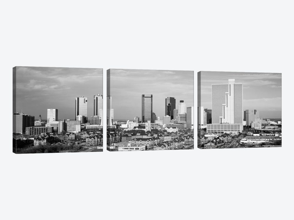 Fort Worth Panoramic Skyline Cityscape (Black & White) 3-piece Canvas Print