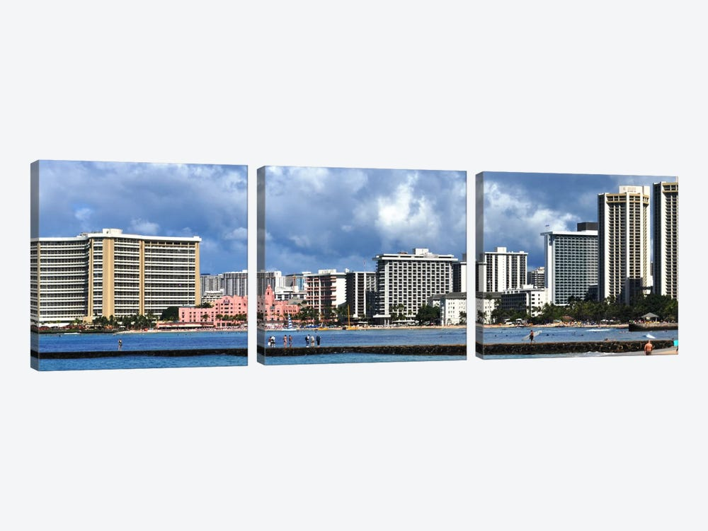Honolulu Panoramic Skyline Cityscape by Unknown Artist 3-piece Canvas Art Print