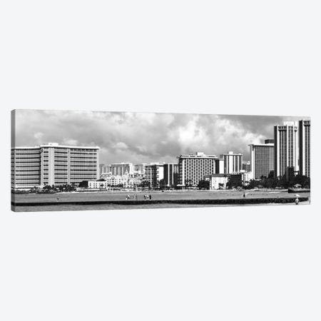 Honolulu Panoramic Skyline Cityscape (Black & White) Canvas Print #6095} by Unknown Artist Canvas Print