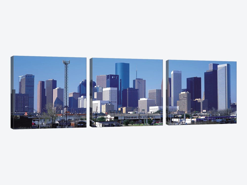 Houston Panoramic Skyline Cityscape by Unknown Artist 3-piece Canvas Art