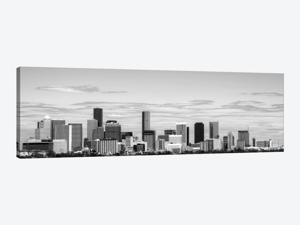 Houston Panoramic Skyline Cityscape (Black & White) 1-piece Art Print