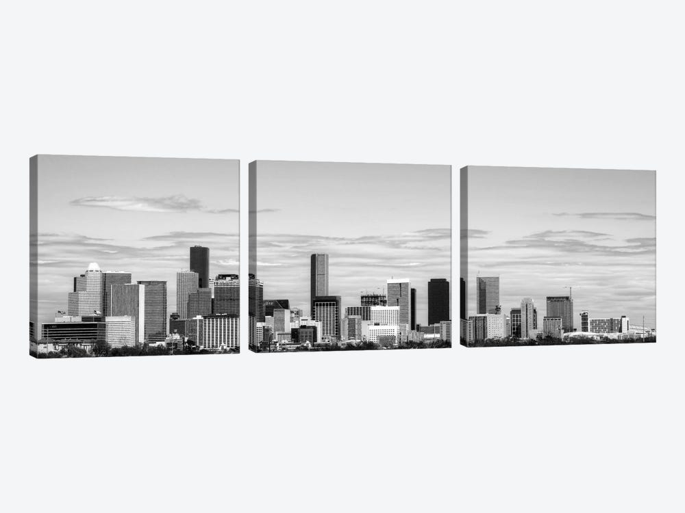 Houston Panoramic Skyline Cityscape (Black & White) by Unknown Artist 3-piece Art Print