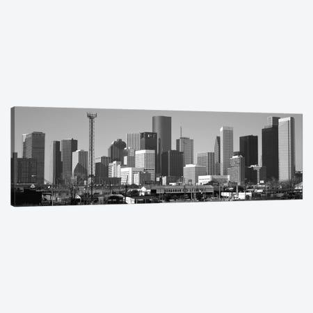 Houston Panoramic Skyline Cityscape (Black & White) Canvas Print #6099} Canvas Artwork