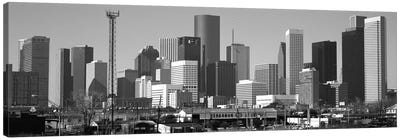 Houston Panoramic Skyline Cityscape (Black & White) Canvas Art Print