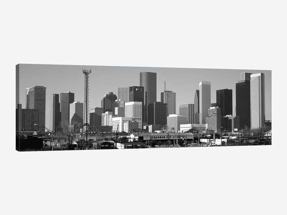 Houston Panoramic Skyline Cityscape (Black & White) 1-piece Canvas Art
