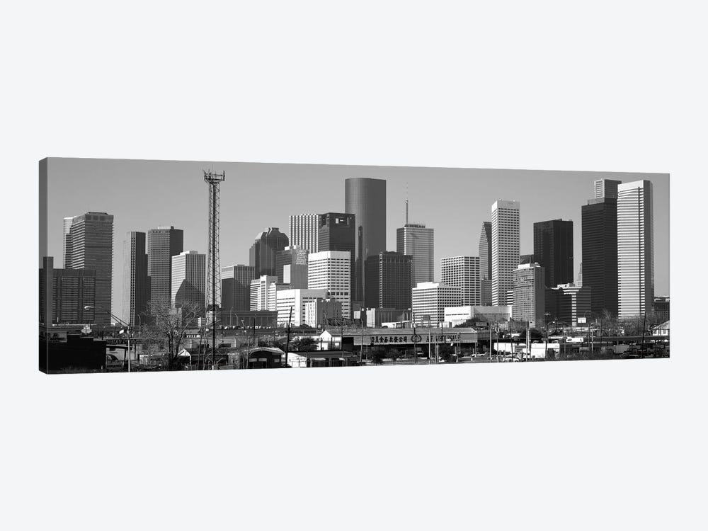 Houston Panoramic Skyline Cityscape (Black & White) by Unknown Artist 1-piece Canvas Art
