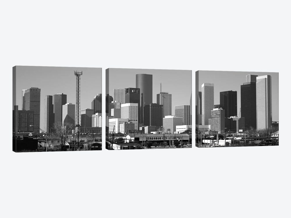 Houston Panoramic Skyline Cityscape (Black & White) by Unknown Artist 3-piece Canvas Wall Art