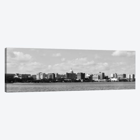 Madison Panoramic Skyline Cityscape (Black & White) Canvas Print #6104} Canvas Art Print
