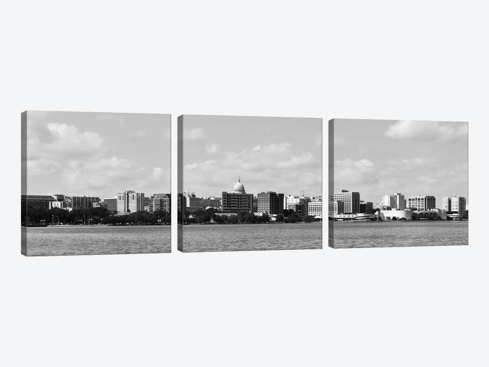 Madison Panoramic Skyline Cityscape (Black & White) by Unknown Artist 3-piece Art Print