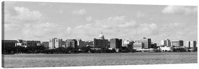 Madison Panoramic Skyline Cityscape (Black & White) Canvas Art Print