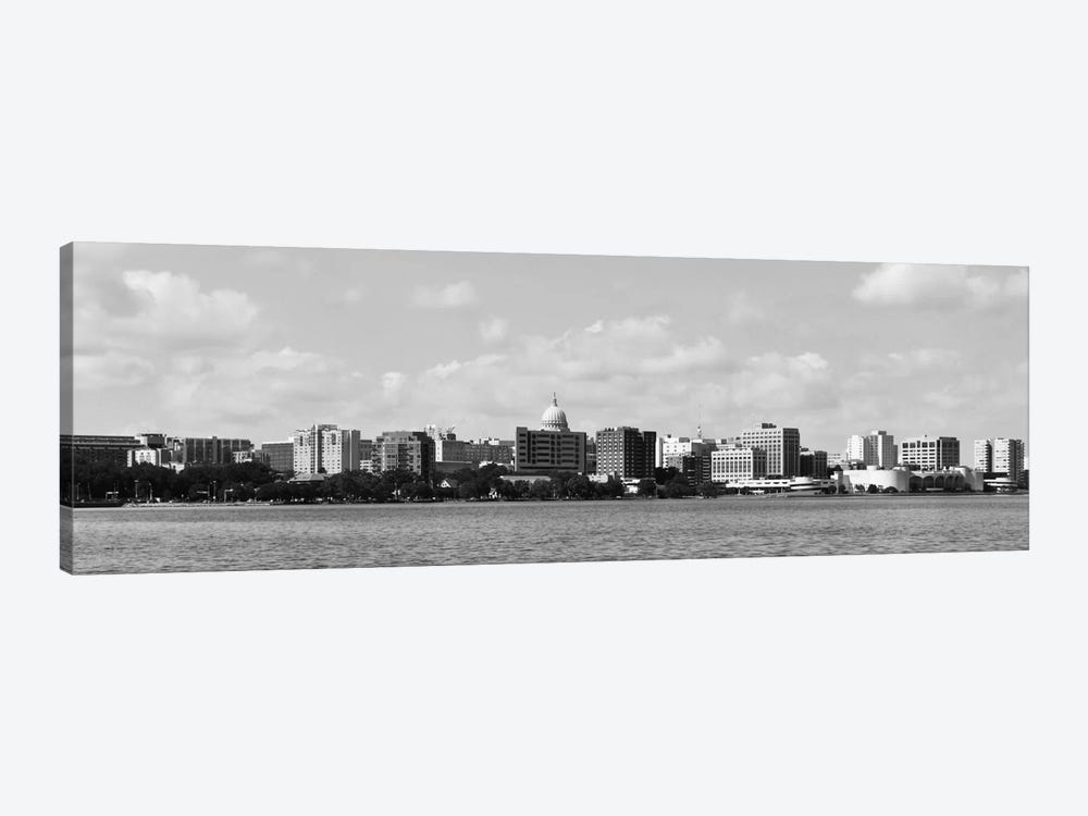 Madison Panoramic Skyline Cityscape (Black & White) by Unknown Artist 1-piece Canvas Art Print