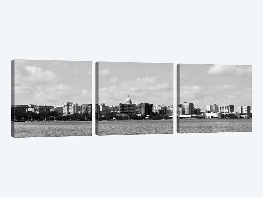 Madison Panoramic Skyline Cityscape (Black & White) by Unknown Artist 3-piece Art Print