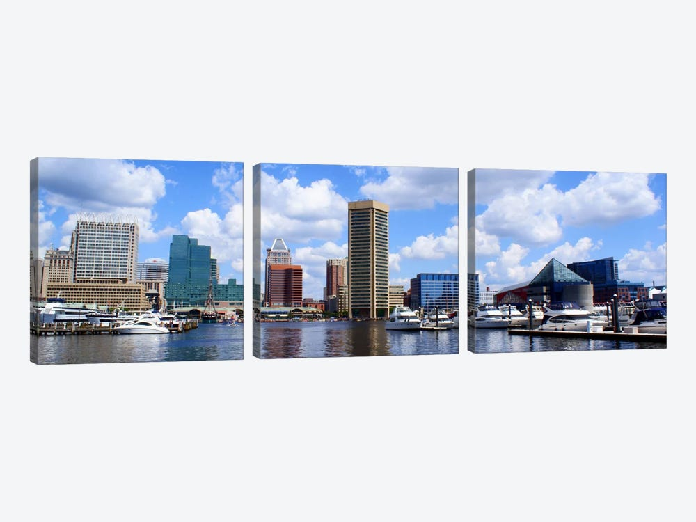 Baltimore Panoramic Skyline Cityscape by Unknown Artist 3-piece Canvas Artwork