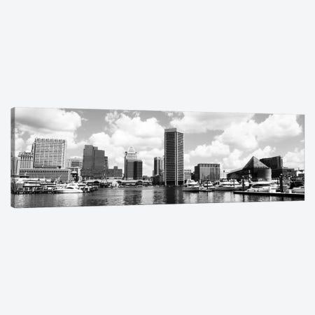 Baltimore Panoramic Skyline Cityscape (Black &White) Canvas Print #6106} Canvas Art Print