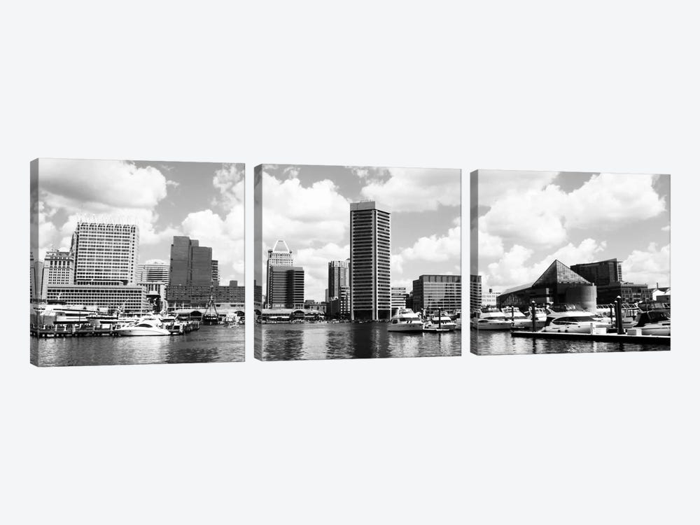 Baltimore Panoramic Skyline Cityscape (Black &White) 3-piece Canvas Art Print