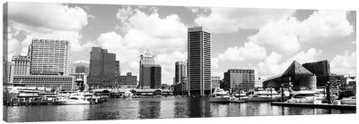 Baltimore Panoramic Skyline Cityscape (Black &White) Canvas Art Print