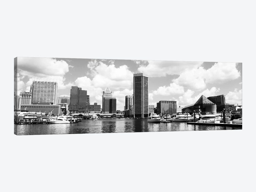 Baltimore Panoramic Skyline Cityscape (Black &White) by Unknown Artist 1-piece Canvas Print