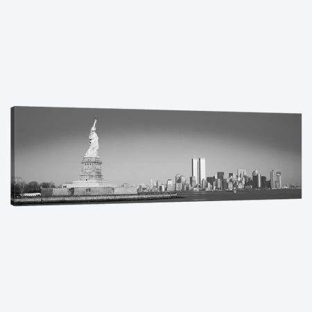 New York Panoramic Skyline Cityscape (Black & White) Canvas Print #6109} by Unknown Artist Canvas Wall Art