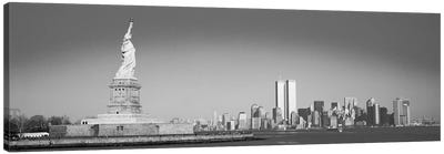 New York Panoramic Skyline Cityscape (Black & White) Canvas Art Print