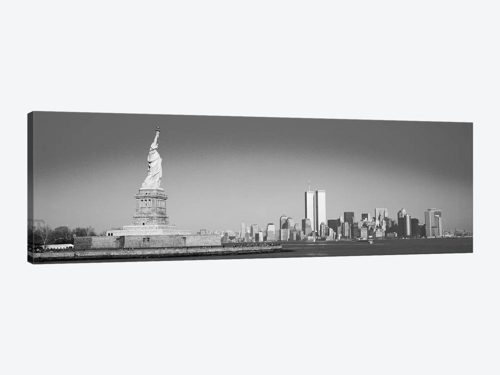 New York Panoramic Skyline Cityscape (Black & White) by Unknown Artist 1-piece Canvas Art