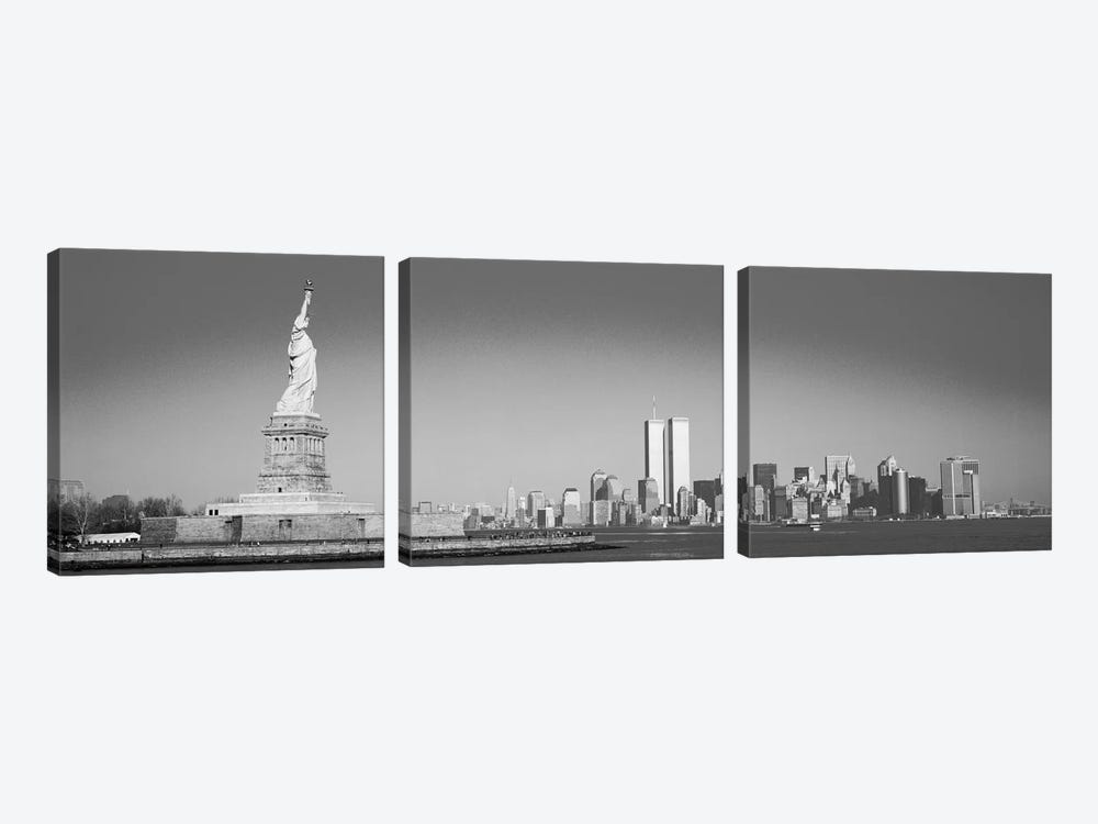 New York Panoramic Skyline Cityscape (Black & White) by Unknown Artist 3-piece Canvas Art