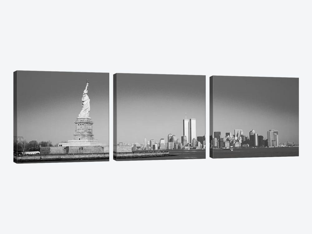 New York Panoramic Skyline Cityscape (Black & White) by Unknown Artist 3-piece Canvas Art