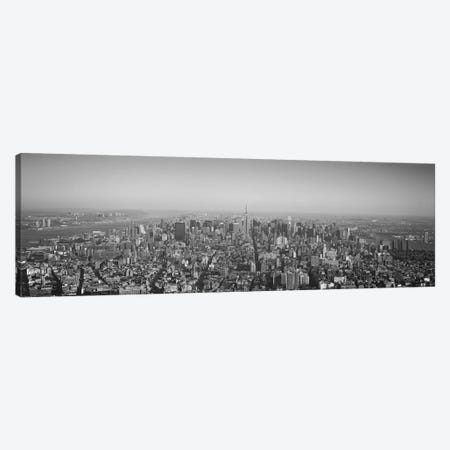 New York Panoramic Skyline Cityscape (Black & White) Canvas Print #6111} Canvas Art Print