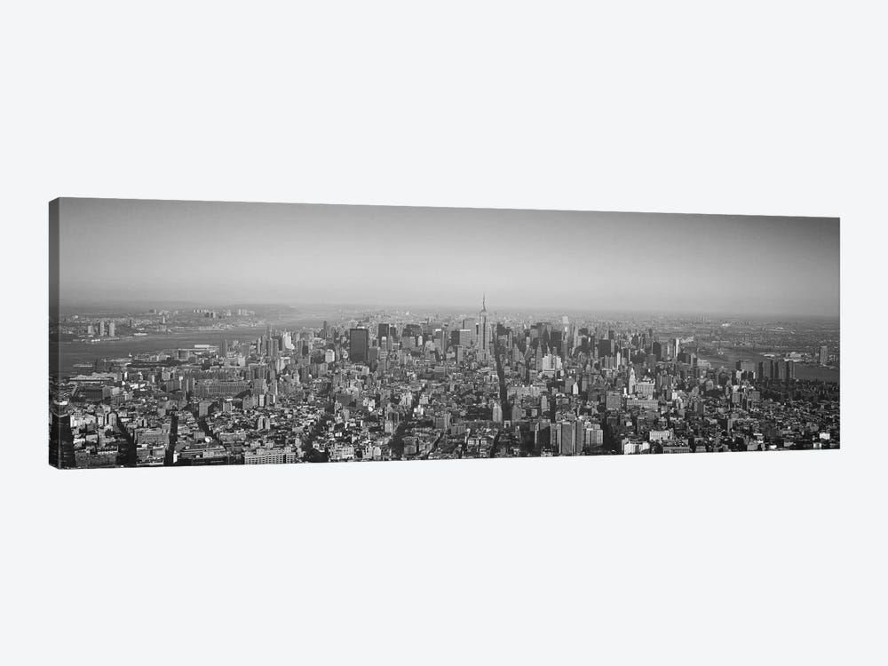 New York Panoramic Skyline Cityscape (Black & White) by Unknown Artist 1-piece Canvas Art Print