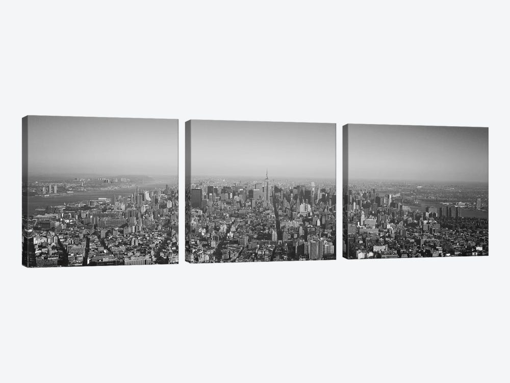 New York Panoramic Skyline Cityscape (Black & White) by Unknown Artist 3-piece Canvas Print