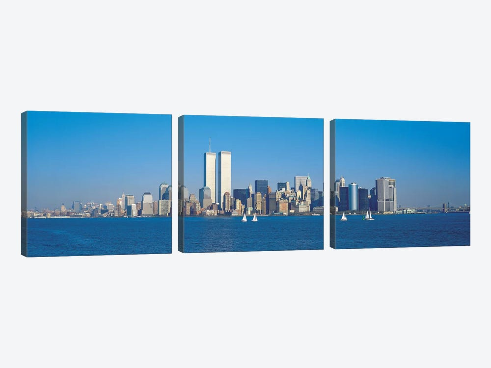 New York Panoramic Skyline Cityscape 3-piece Canvas Artwork