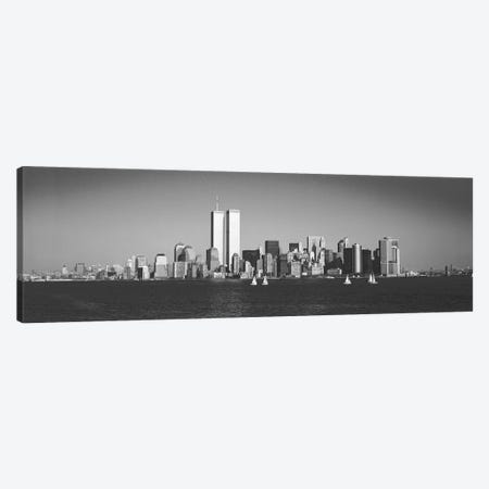 New York Panoramic Skyline Cityscape (Black & White) Canvas Print #6113} Canvas Art Print